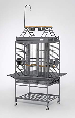 Chiquita Bird Cages | Beautiful Bird Cage in Dome Top or Play Top Styles in Attractive Pearl White or Platinum Gray | Ideal for Senegals, Conures, Quakers, Lories, Caiques & Plonus | 29.62L x 35.75W x 57.5H Inches, 85 lbs. | Includes ALL Accessories