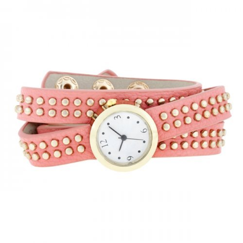 Icon Bijoux Co-Cpwh1005-Pink Pink Mini Studded Wrap Watch from Icon Bijoux