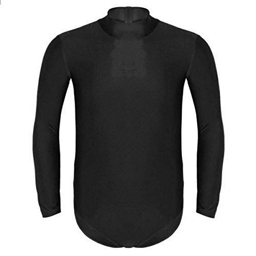 iiniim Women Men Long Sleeve Leotard Adult Mock/Turtle Neck Lycra Spandex Ballet Dance Bodysuit Black ()
