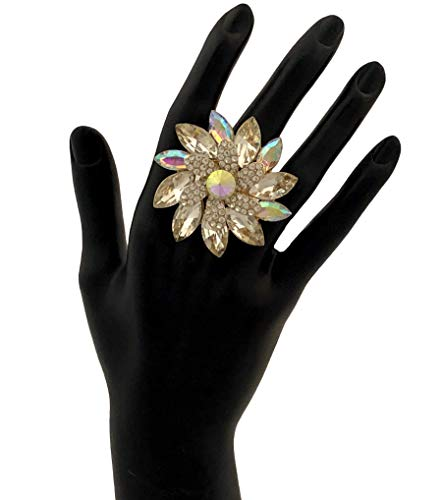 ChiqueTrendz Large Gold and Aurora Borealis Rhinestone Flower Ring
