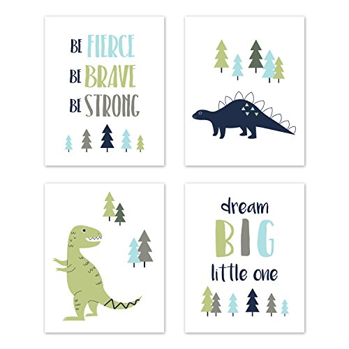 Sweet Jojo Designs Blue and Green Dream Big Dino Wall Art Prints Room Decor for Baby, Nursery, and Kids for Mod Dinosaur Collection - Set of 4 ()