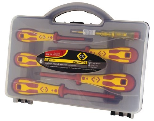 C. K Tools T49183 Dextro VDE Insulated Slotted Cabinet Tip/PoziDrive Screwdriver Set, 6-Piece