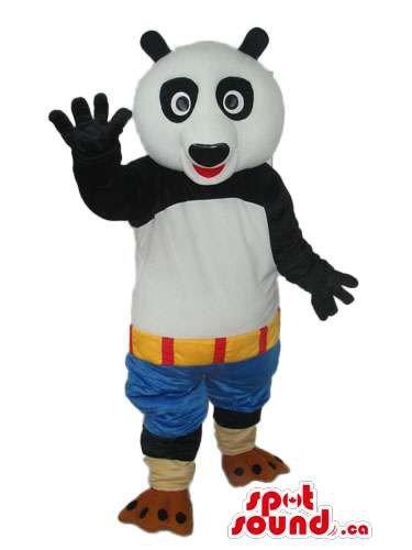 Kung Fu Panda Movie Character Mascot SpotSound US With Blue Shorts