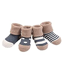 Mai Poetry Infant Baby Toddler Cozy 4 Styles Cute Socks for Girls and Boys 4 Pairs