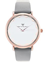 WRISTOLOGY Olivia Womens Scalloped Rose Gold Boyfriend Watch Grey Leather Strap