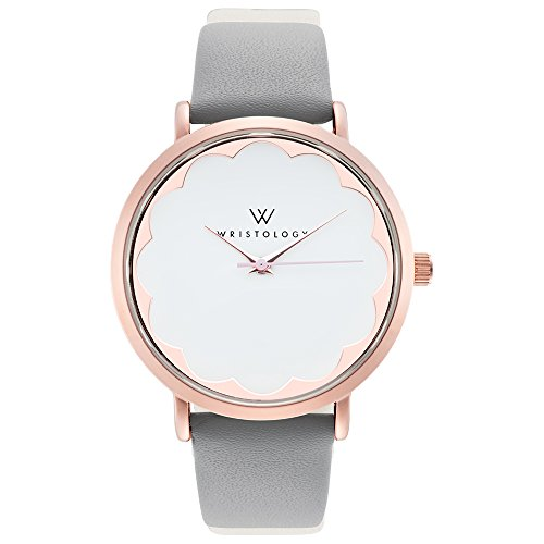 - WRISTOLOGY Olivia Womens Rose Gold Scallop Wrist Watch Grey Leather Band