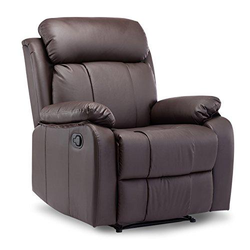 Leisure Zone  Leather Recliner Chair Tilt Sofa Push Back Armchair Sofa for...