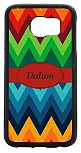 Rikki KnightTM Dalton Name on Fall Colors Chunky Chevron Design Samsung? Galaxy S6 Case Cover (Black Rubber with front Bumper Protection) for Samsung Galaxy S6