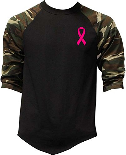 Men's Small Pink Breast Cancer Ribbon V393 Camo Raglan Baseball T-Shirt Small (Pink Ribbon Baseball Tee)