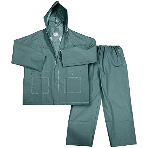 Galeton 11906-XXXL-GR 11906 Repel Rainwear 0.22 mm EVA 2-Piece Rain Suit, Pants with Fly, 3X-Large, Green