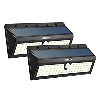 Solar Powered Sensor Light, ARILUX 3400mA 62 LED PIR Solar Panels Led Lights, Outdoor Waterproof Patio Wall Light with Three Intelligent Modes (2 pack)