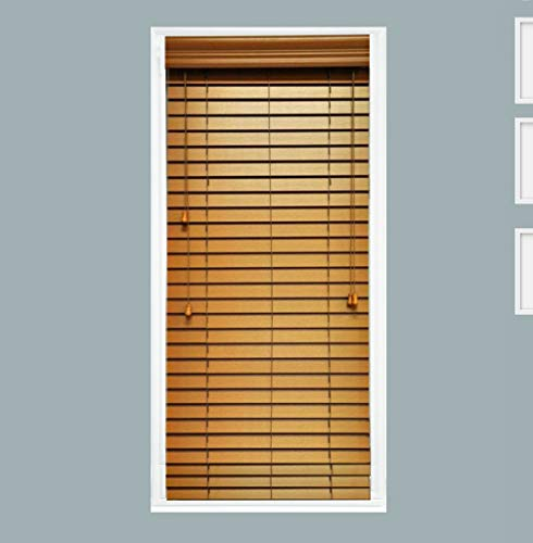 TailorView, Custom Made 2 Inch Faux Wood Horizontal Window Blind, Oak, Inside Mount, Inner Window Size: 70″ W x 48″ H