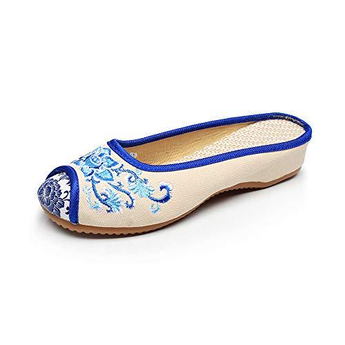 Sandales Femmes Souples Chaussures Chaussures pékin Pantoufles Vieux Blanc Occasionnels Broderie Lotus 041w0