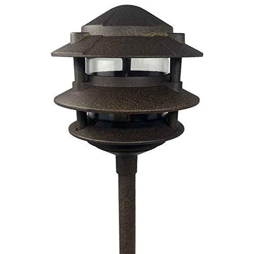 Cast Aluminum Classic Style Pagoda Area/Pathway Landscape Light - AQPA (3 Tier, Gold Rush Bronze)