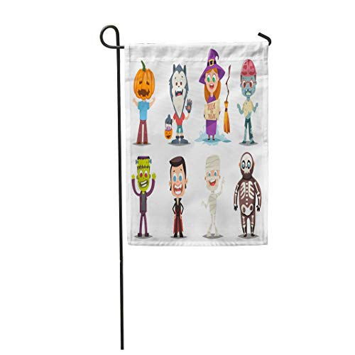 Tarolo Decoration Flag Halloween Kids Costumes Pumpkin Vampire Werewolf Zombie Witch Broom Mummy and Skeleton Cartoon of Cute Boy Girl Thick Fabric Double Sided Home Garden Flag 12