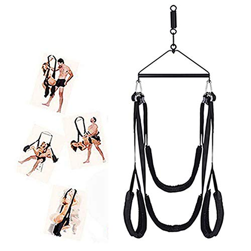360 Degree Spinning Swivel Indoor Swing with Adjustable and Comfortable Straps - Holds up to 800 lbs, Including All Accessories, Black