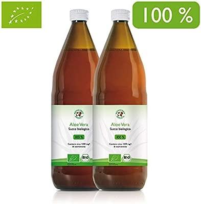 Jugo 100% orgánico de Aloe Vera | Fileteado a mano | Rico en ingredientes naturales | Promedio 1200 mg / l Aloverose | 2 x 1000ml