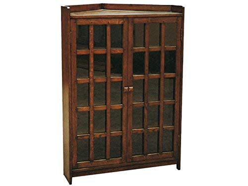 Crafters and Weavers Arts and Crafts Mission Solid Oak Corner Bookcase Corner Cabinet