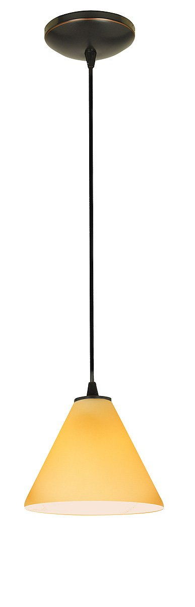 Martini Glass Pendant - Cord - Oil Rubbed Bronze Finish - Amber Glass Shade