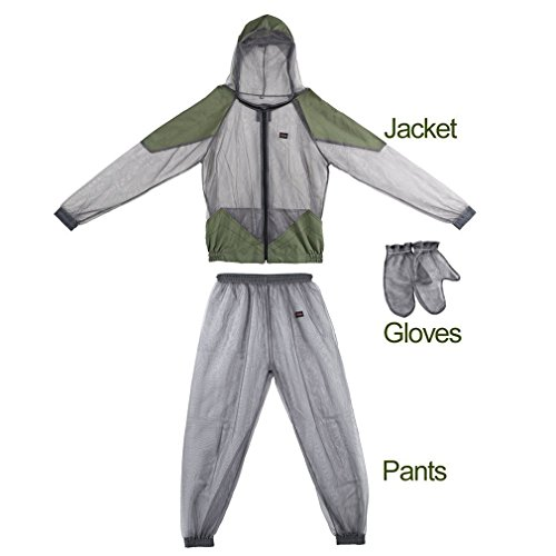 kbxstart Mesh Mosquito Suit, Jacket Mosquito Suit Mesh Summer Bug Wear Ultra-fine Mesh Insect Protective with Gloves and Perfect Defend System for Fishing Hiking Camping Gardening Farming (XL)