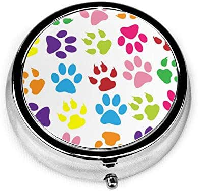 Pill Box Colorful Paw Prints Funny Round Pill Case Daily Metal Silver Medicine Tablet Holder Organizer Container Cases for Purse Pocket Travel Vitamin,Small 2 inch,3 Compartment