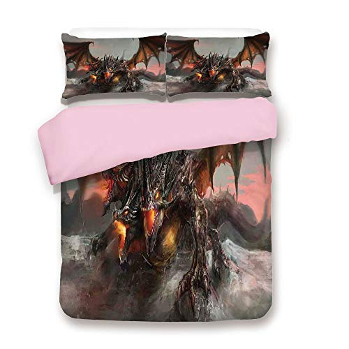 Pink Duvet Cover Set,FULL Size,Illustration of Three Headed Fire Breathing Dragon Large Monster Gothic Theme,Decorative 3 Piece Bedding Set with 2 Pillow Sham,Best Gift For Girls Women,Brown Grey - Dragon Fire Breathing Blue