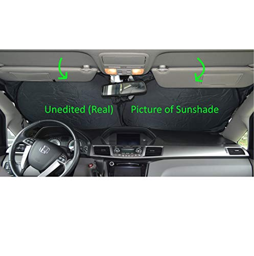 Windshield Sun Shade 240T-Sunshades Sizechart Images 2 to 4 Fabric Selection-Chart for Car SUV Trucks Minivans Sunshades Keeps Your Vehicle Cool Heat Shield (Large)