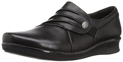Clarks Women's Hope Roxanne Loafer, Black Leather, 6.5 M - Dress Loafers Womens Shoes