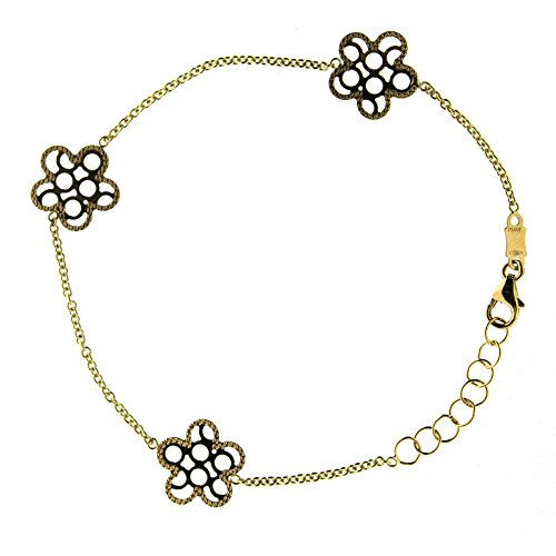 18K Yellow Gold open cut design flowers bracelet 7 inches with extra rings starting at 6.25 inches by Amalia
