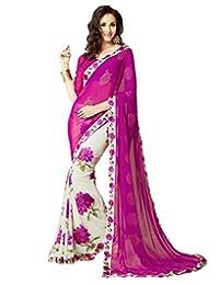 Mahavirfashion Indian Ethnic Bollywood Saree Party Wear Pakistani Designer Sari Wedding,Pink,Free Size(Unstitched Blouse)