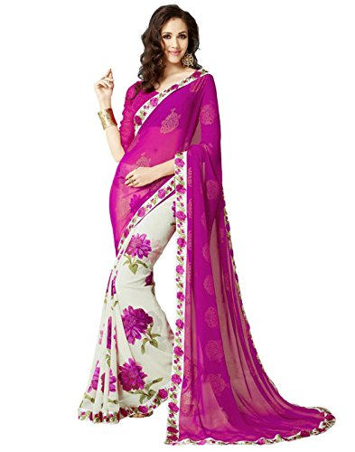 ood Saree Party Wear Pakistani Designer Sari Wedding,Pink,Free Size(Unstitched blouse) ()