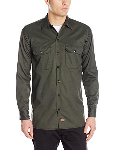 Dickies Men's Long Sleeve Work Shirt, Olive Green, -