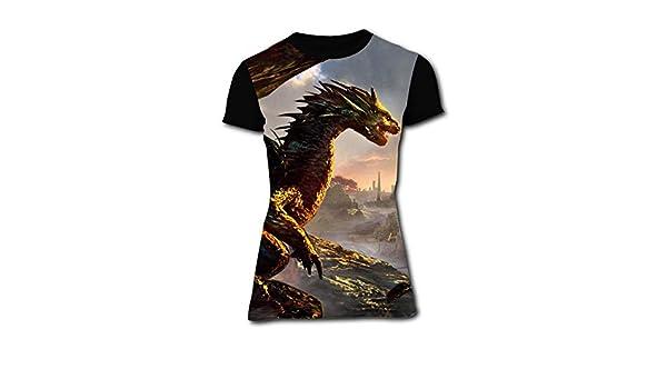 Gujigur Womens T Shirt Creative Lighting Dragon Summer Casual Short Sleeve Tee Creative 3D Printed Hipster Design