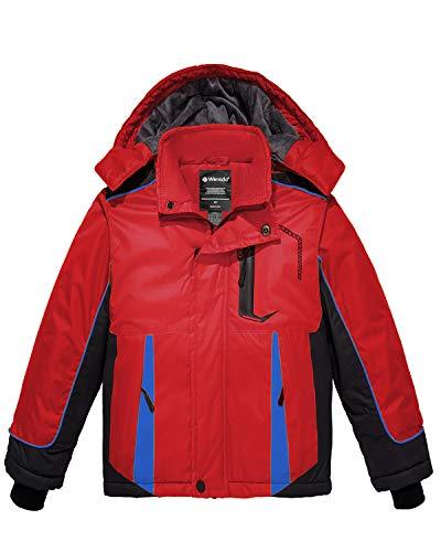 Wantdo Boy's Waterproof Fleece Ski Jacket Hooded Winter Puffer Coat Red 10/12