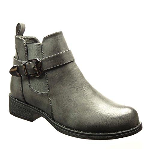 Grau Boots 3 Damen Blockabsatz Schleife Chelsea Metallisch Cm Angkorly Schuhe Stiefeletten IvCqqTw