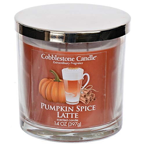 Pumpkin Spice Latte Scented Candle with Three Wicks - Large Cobblestones