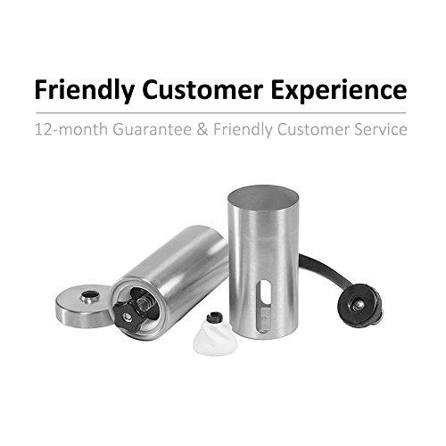 TopNoble Manual Coffee Grinder, Stainless Steel, Ceramic Conical Burr Mill, Ergonomics Hand Crank Design