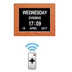 Day Clock Extra Large Impaired Vision Digital Clock with Battery Backup & 12 Alarm Options-[Newest Version](Brown Wood )