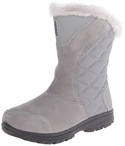 Columbia Women's Ice Maiden II Slip Winter Boot, Light Grey/Siberia, 8.5 M US (Winter Quilted Boots)