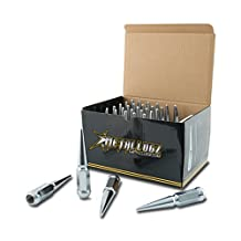 """Metal Lugz Spiked Lugz Chrome 1/2"""" thread 4.4"""" overall length kit contains 25 Lugs & 1 Key"""
