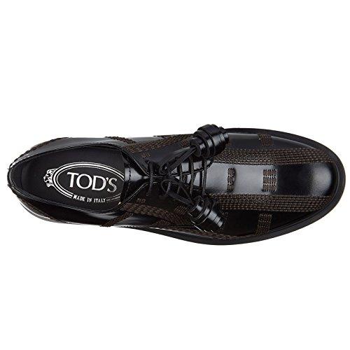 Nero En Piel Tod's De Allacciata Derby Clásico Cordones Zapatos Impunture Mujer X7YAvqHY