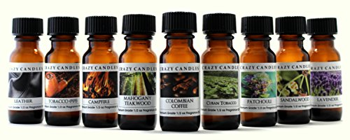 Cuban Mahogany - Crazy Candles 9 Bottles Set, Leather, Tobacco Pipe, Campfire, Mahogany Teakwood, Colombian Coffee, Cuban Tobacco, Patchouli, Sandalwood, Lavender 1/2 Fl Oz Each (15ml) Premium Oils By