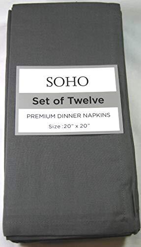 "Soho Set of 12 Premium Dinner Napkins Charcoal Gray 20"" x 20"" 100% Cotton Easy Care"