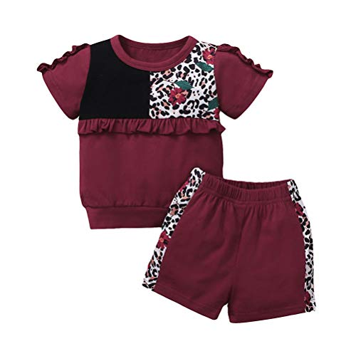 Toddler Baby Girls Leopard T-Shirt Set Patchwork Top Ruffle Tee Shorts Sports Outfits (Wine red, 18-24 Months)