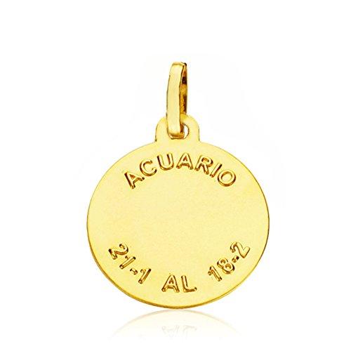 Medalla colgante Acuario espiral 18 Ktes 16mm. Grabado gratuito ... 7cefa4906c3