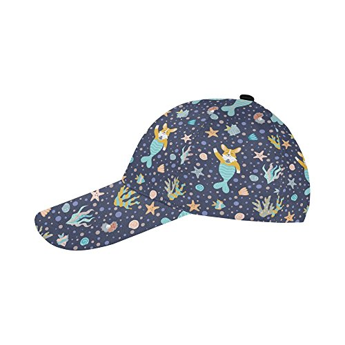 Unique Debora Custom Baseball Cap Adjustable Buckle Strap Corgi Mermaids Corals Fish Seashells