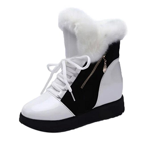 Nieve Blanco Eu Xinantime 36 De Con Punta Invierno Botines Mujer Negro Redonda Zapatos Botas Planos Blanda 1ZBWRO1nr