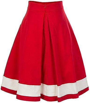 Faldas Mujer Elegantes Roja Vintage Esencial 50 Años Una Línea ...