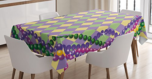 Ambesonne Mardi Gras Tablecloth, Mardi Gras Celebration Beads in Vibrant Graphic Style on Diamond Line Pattern, Dining Room Kitchen Rectangular Table Cover, 60 W X 84 L Inches, ()
