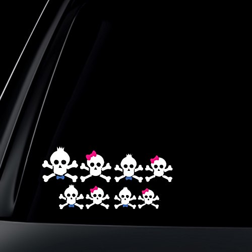 - Skull Family Pink Bow & Blue Bow Tie Car Decal / Sticker